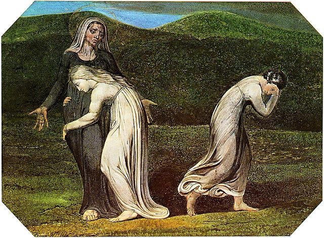 Naomi entreating Ruth and Orpah by Blake