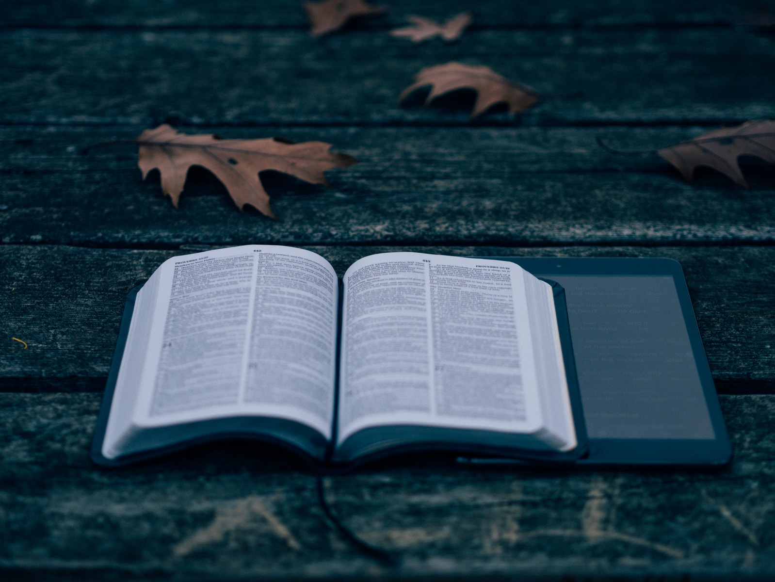 open Bible on top of tablet